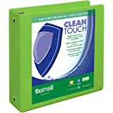 Samsill Clean Touch 3 Ring View Binder Protected by Antimicrobial Additive, Customizable Clear View Cover,3 Inch Round Rings, Lime Green