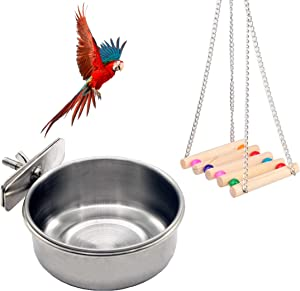 QIANWEI Bird Feeding Dish Cups,Hanging Stainless Steel Parrot Cage Feeder&Water Dish Feeding Cups with Swing for Parakeet Cockatiel Lovebird Cockatiels Macaw Finch Ferret Chinchilla