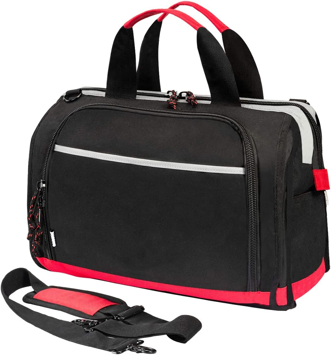 Tool Bag Wide Mouth Tote Bag with 25 Pockets 16-inch Storage Bag with Adjustable Shoulder Strap Black Red