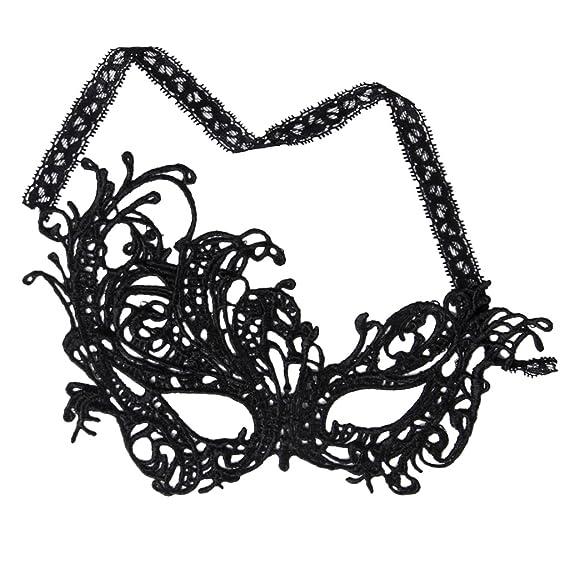 Máscara Mascarilla Ojos Antifaz Encaje Negro para Mujer Fiesta Moda