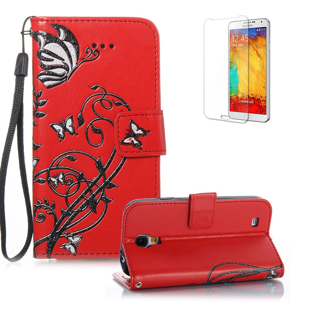 For Samsung Galaxy S4 Case, Funyye Classic Vintage Folio PU Leather Wallet Magnetic Flip Cover with [Wrist Strap] and [Butterfly Flower Pattern] Book Style Shockproof Bumper Cover for Samsung Galaxy S4-Black