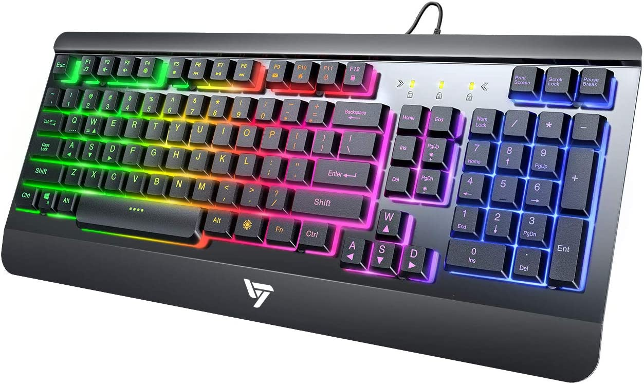 VicTsing Gaming Keyboard, USB Wired Keyboard, Quiet Durable All-Metal Panel Computer Keyboard, Bright Rainbow LED Backlit Keyboard for Desktop, Computer - Black