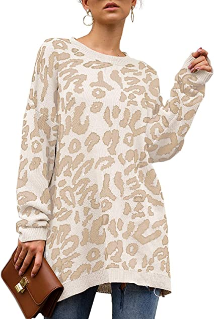 Women Round Neck Loose Long Sleeve Oversize Sweater Jumper Shirt Top Dress S-2XL