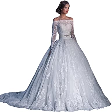 2dd9646752db Fair Lady Gorgeous Lace Off Shoulder Long Sleeves Wedding Dresses Ball Gown Bridal  Dress Ivory