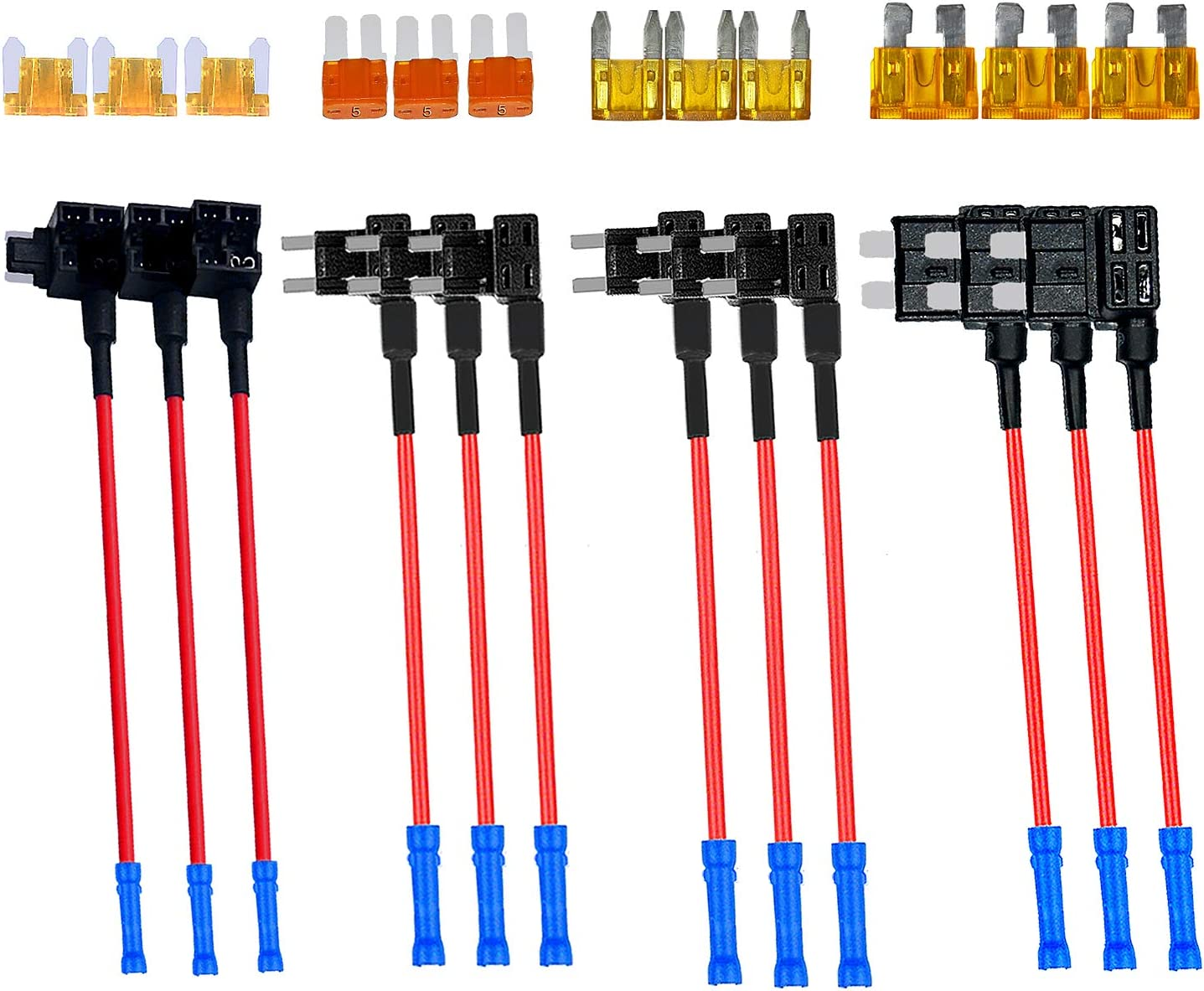 4 Types 12V Add-a-Circuit Adapter & Fuse Kit - Muhize Fuse Tap Fuse Holder with MICRO2 Mini ATC ATS Low Profile Tap dapter for Cars Trucks Boats (12 Pack)