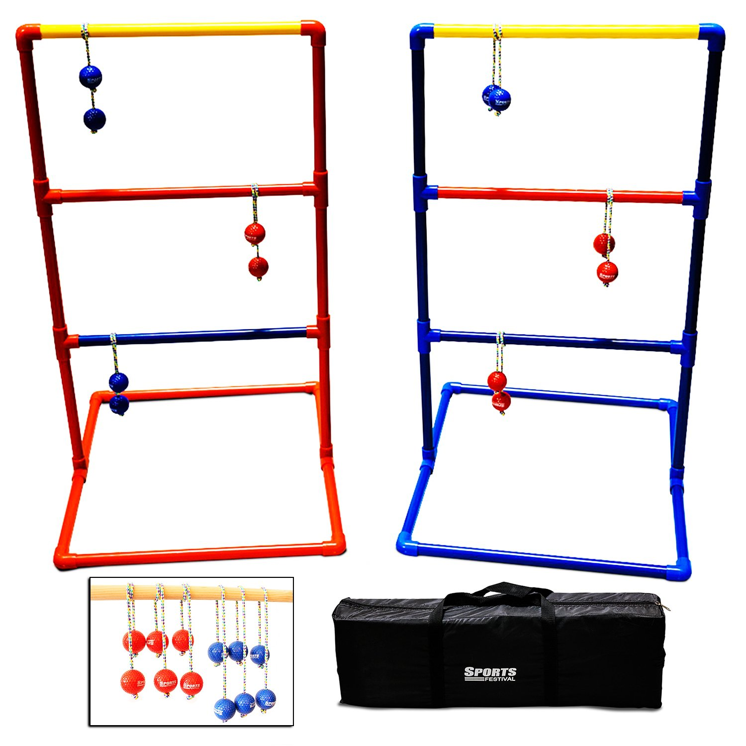 SF17018 Sports Festival Premium Ladder Ball Toss Game Set with 6 Bolas and Carrying Case Outdoor Back Yard Games For Family Reunion Fun by Sports Festival ®