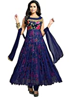 Rensila Women's Blue Georgette Satin Net Anarkali Salwar Suit
