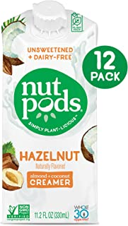 product image for nutpods Dairy-Free Hazelnut Creamer, Unsweetened, Whole30 Approved, 12 Pack