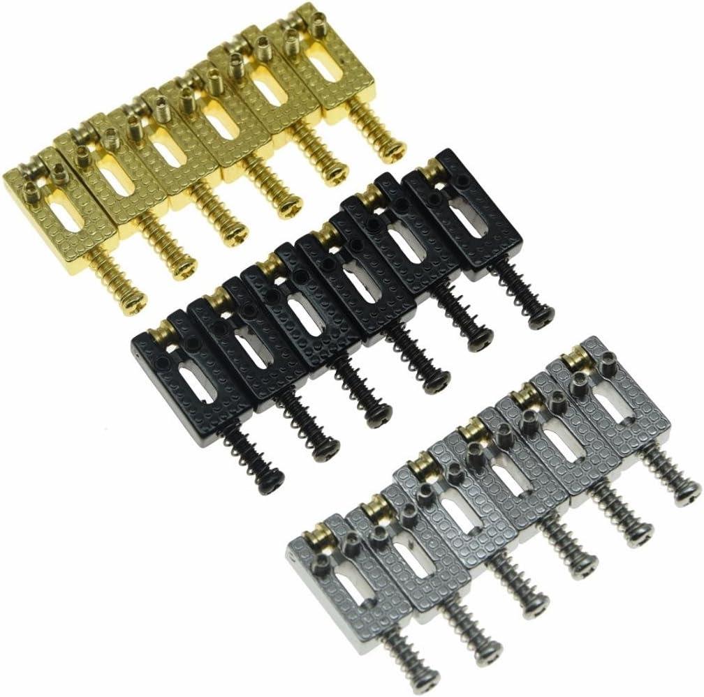 KAISH Pack of 6 Modern Electric Guitar Tremolo Bridge Roller Saddles for Strat or Tele Guitars Chrome