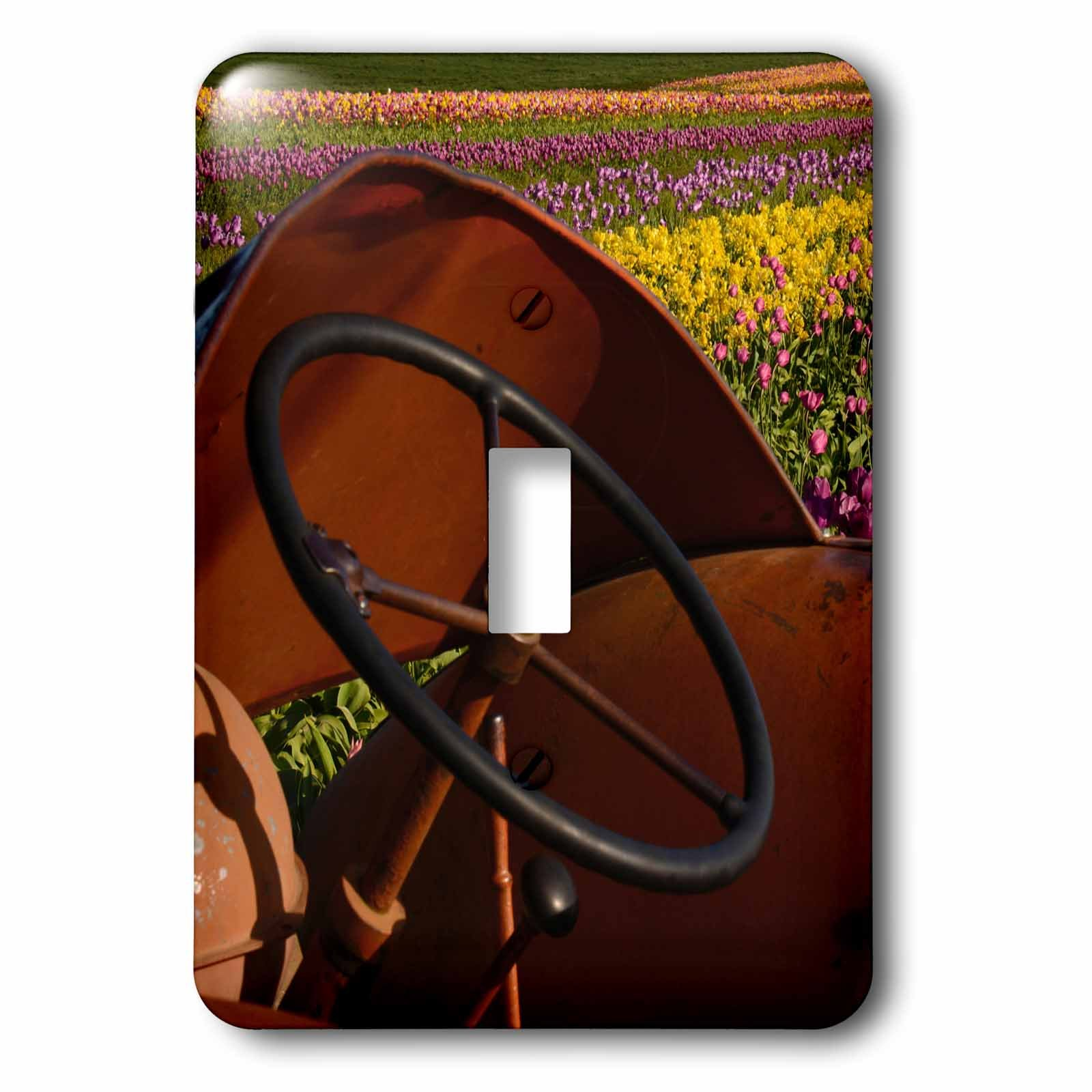 3dRose lsp_191671_1 Tractor, Tulip Festival, Woodburn, Oregon, Usa Light Switch Cover