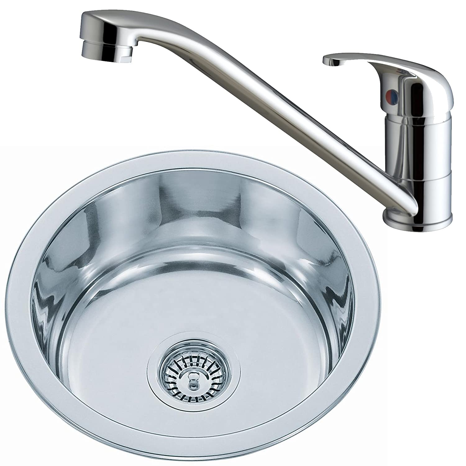 Round Kitchen Sink Stainless Steel and Small Kitchen Tap Single ...