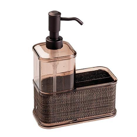 InterDesign Twillo Organizador de cocina, dispensador de jabón líquido grande en plástico con esponjero para