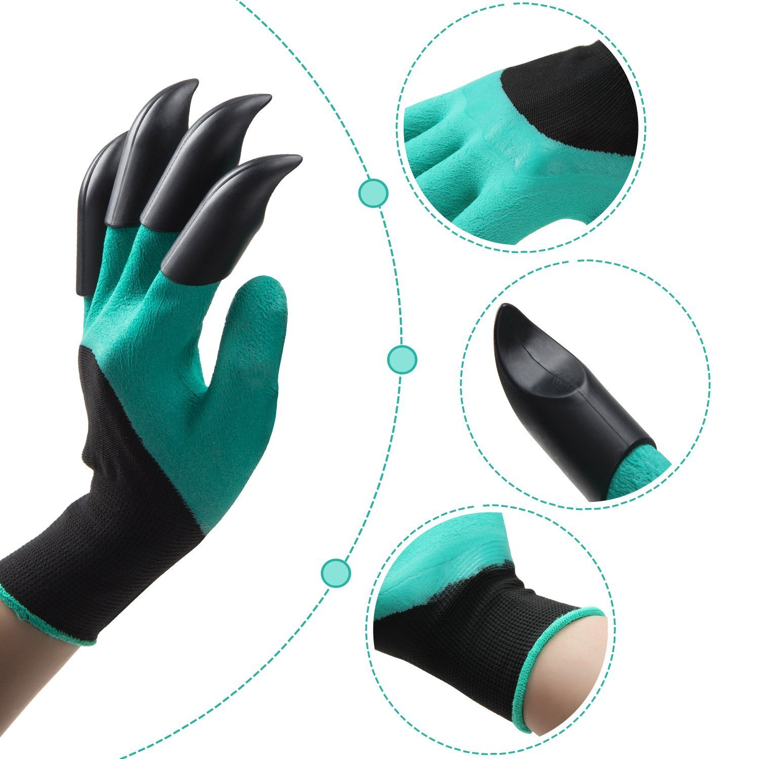 Meanch Handed Garden Genie Gloves with Claws on Both Hands for Digging
