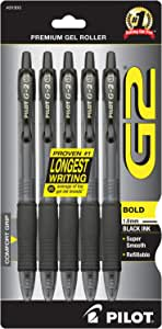 PILOT G2 Premium Refillable & Retractable Rolling Ball Gel Pens, Bold Point, Black Ink, 5-Pack (31303)