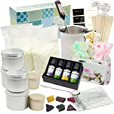 Candle Making Kit Supplies, Soy Wax Making Kit Including Pot, Wicks, Sticker, Tins, Soybean Wax, Spoon & More