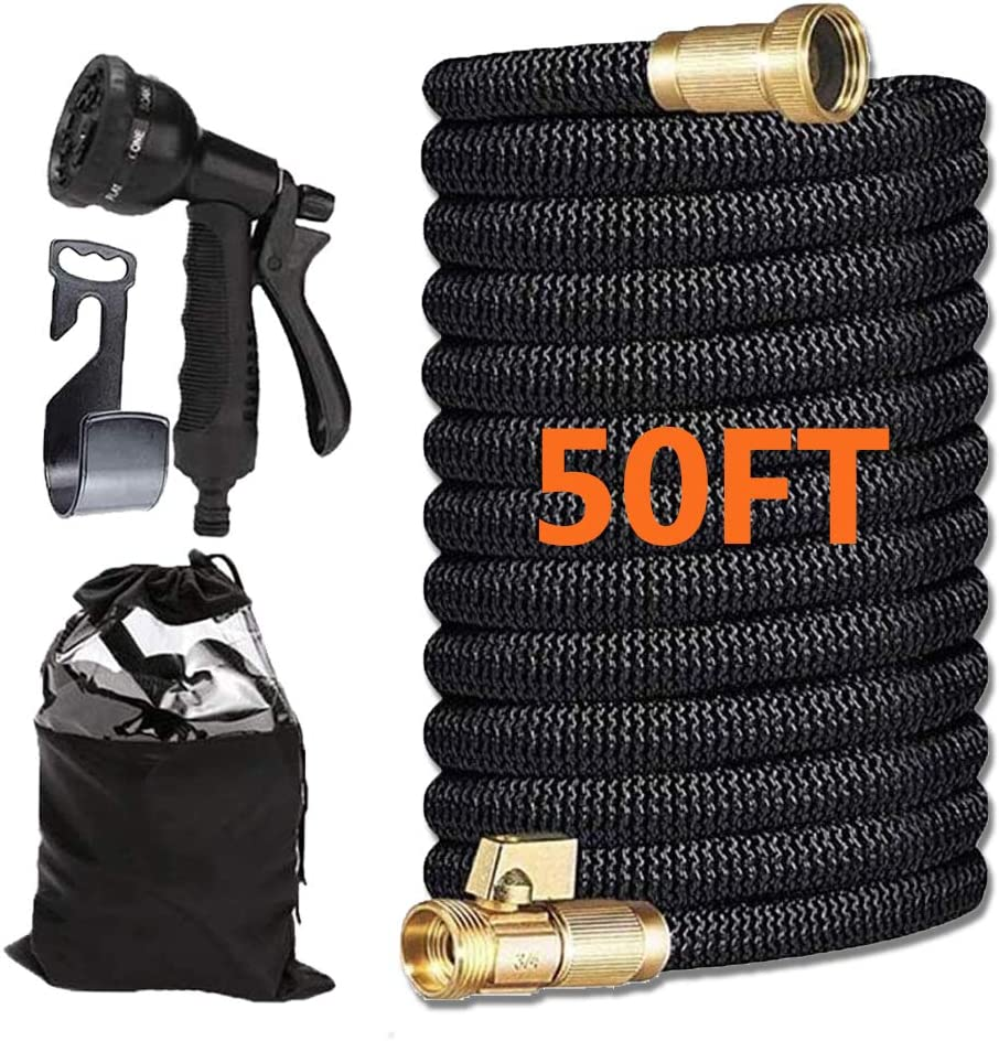 50ft Expandable Garden Hose,Flexible Expanding Water Hose,Outer Black Fabric,Leak Resistant Build,Solid Brass Connector,Metal Nozzle,Easy To Coil & Uncoil,Best Portable Compact Retractable Hose