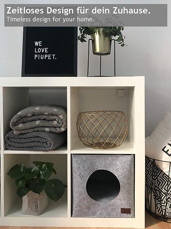 PiuPet Cama de Gato by Incl. cojín | Casa de Gato Adecuada para IKEA® Kallax & Expedit | Cueva Comoda en Gris óptica de Fieltro | Diseño Elegante y Moderno ...