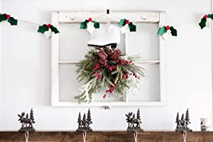 Nivas Christmas Holly and Berries Garalnd/Christmas Mantel Decor/Farmhouse Christmas Decor/Christmas Tree Decoration/Christmas Garland