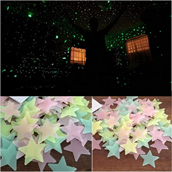 Amazon.com: Jewh [50pcs 3D Stars Glow in The Dark Wall Stickers - Luminous Fluorescent Wall Stickers for Kids - Baby Room Bedroom Ceiling Home Decor ...