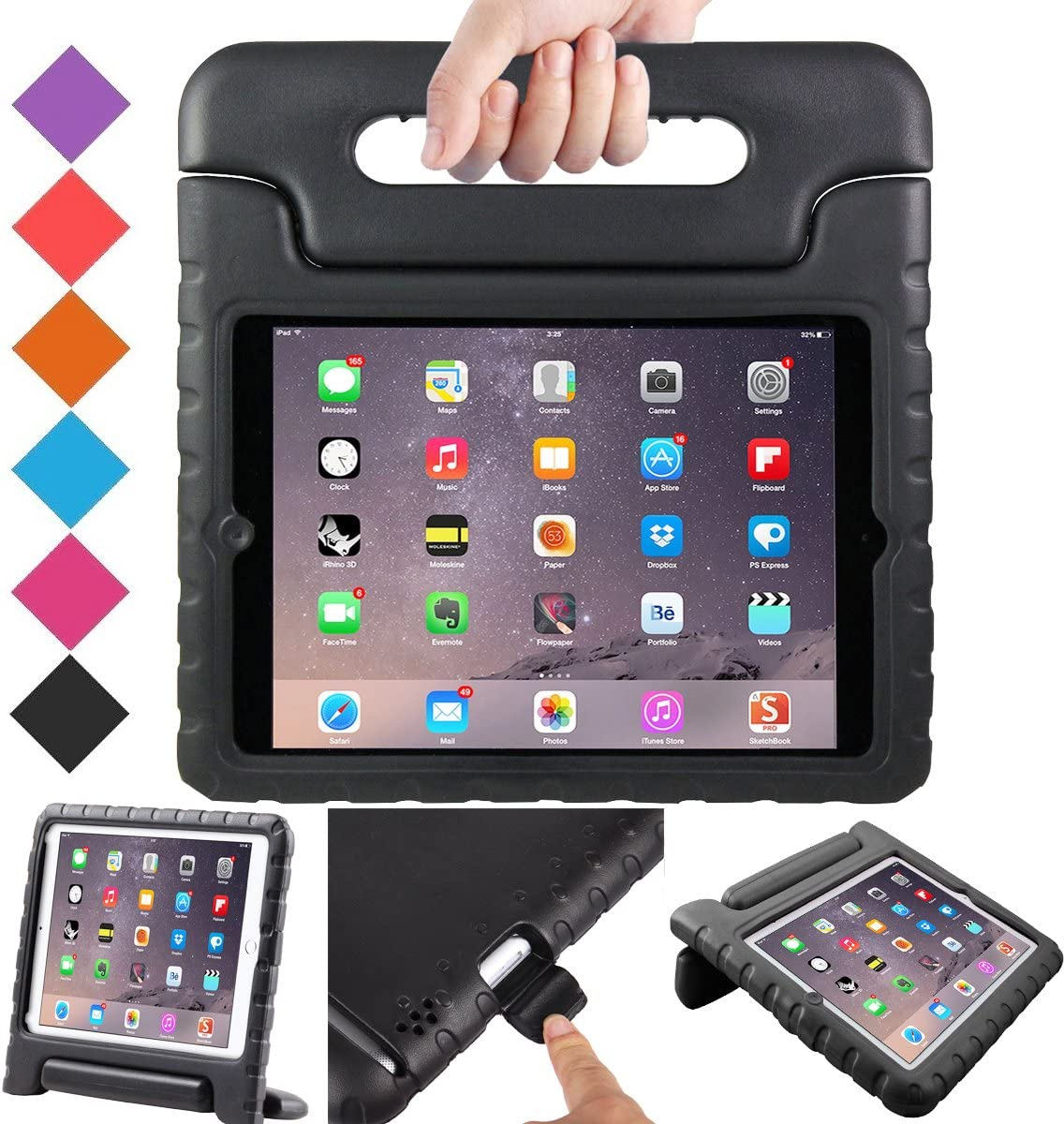 BMOUO ShockProof Convertible Handle Light Weight EVA Protective Stand Kids Case for Apple iPad 4, iPad 3 and iPad 2 - Black