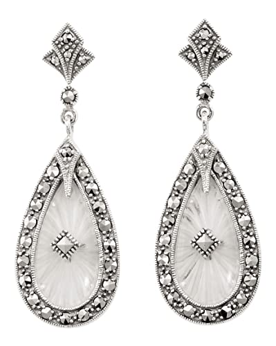 Amazon Com Art Deco Style Sunray Crystal And Marcasite Earrings In