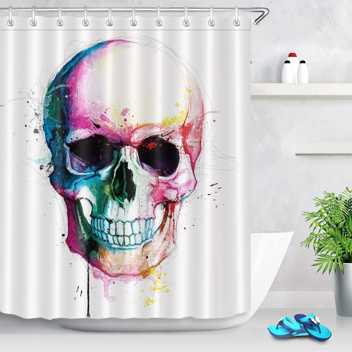 LB Day of the Dead Shower Curtain Set Halloween Sugar Skull Skeleton Scary Eyes Colorful Mexican Dia de Los Muertos Shower Curtains for Bathroom Decor with Hooks 60x72 inch Waterproof Polyester Fabric