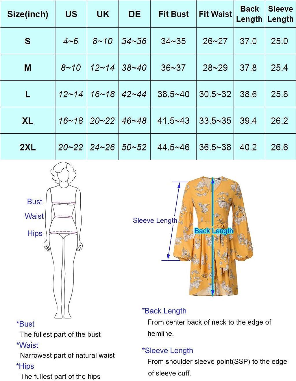 GRACE KARIN Women Floral Print Puffy Sleeve Elastic Waist Irregular Hem Dress with Belt