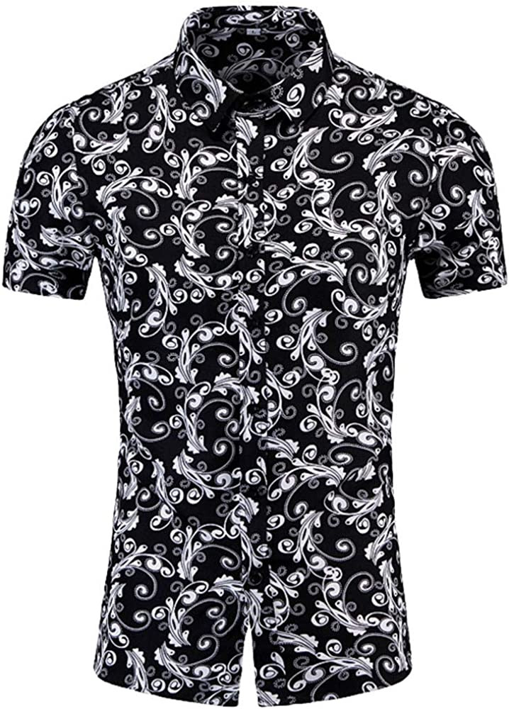 Lenfesh Nueva Camisa de poliéster Moda para Hombre Ocio Impreso Digital Camiseta de Costura Negra Top Blusa Tallas Grandes M-6XL: Amazon.es: Ropa y accesorios