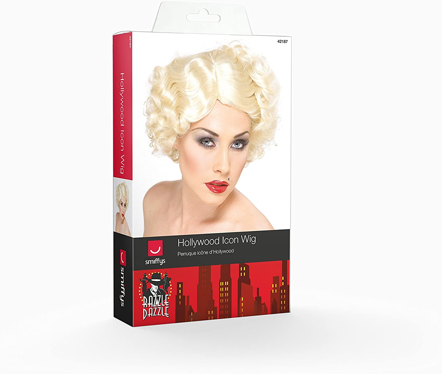 Hollywood Icon Wig Blonde with Short Curls Marilyn Women/'s Fancy Dress Costume