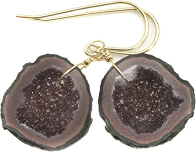 14k solid gold French earwire Mini  Geode Druzy Peridot