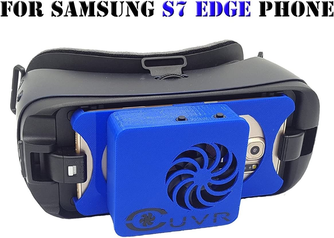 Samsung Gear VR Fan Cooling & Charging Cover (CUVR Ultimate) Compatible with SM-R324 - SM-R323 - SM-R322 (Blue S7 Edge)