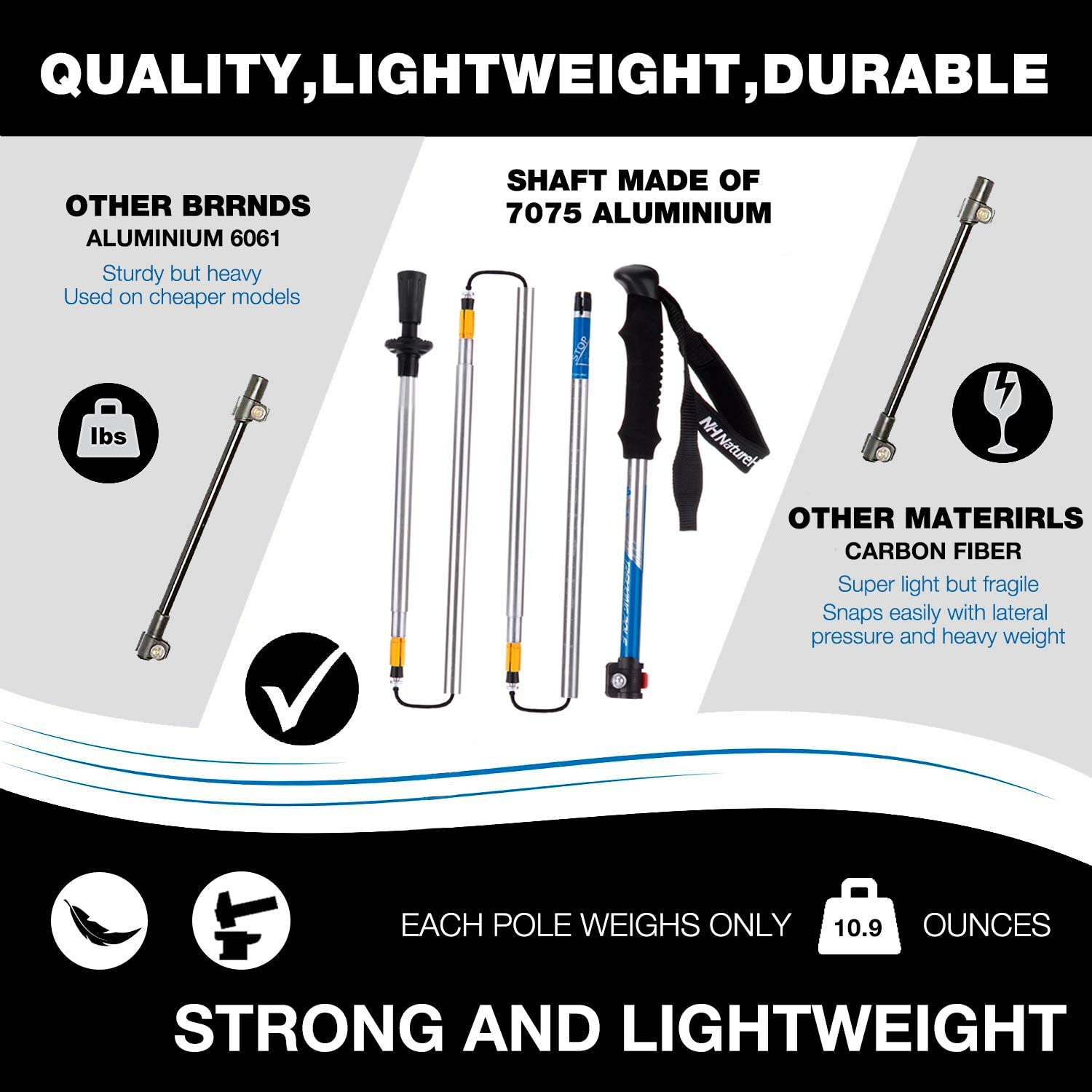 Naturehike Foldable Trekking Pole, Collapsible and Adjustable Hiking Walking Stick Poles for Outdoor Climbing with Lever Lock and Carry Sack 5-Section