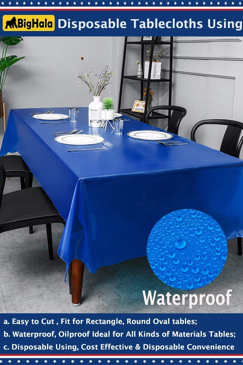 """54/"""" x 108/"""" Navy Blue Wedding Birthday Party Tableware Plastic Table Cover"""