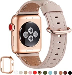 WFEAGL Compatible iWatch band 44mm 42mm,Top Grain Leather Band With Gold Adapter (the Same as Series 6/5/4/3 With Gold Aluminum Case in Color) for iWatch SE & Series 6 /5/4/3/2/1 (PinkSand+RoseGold)