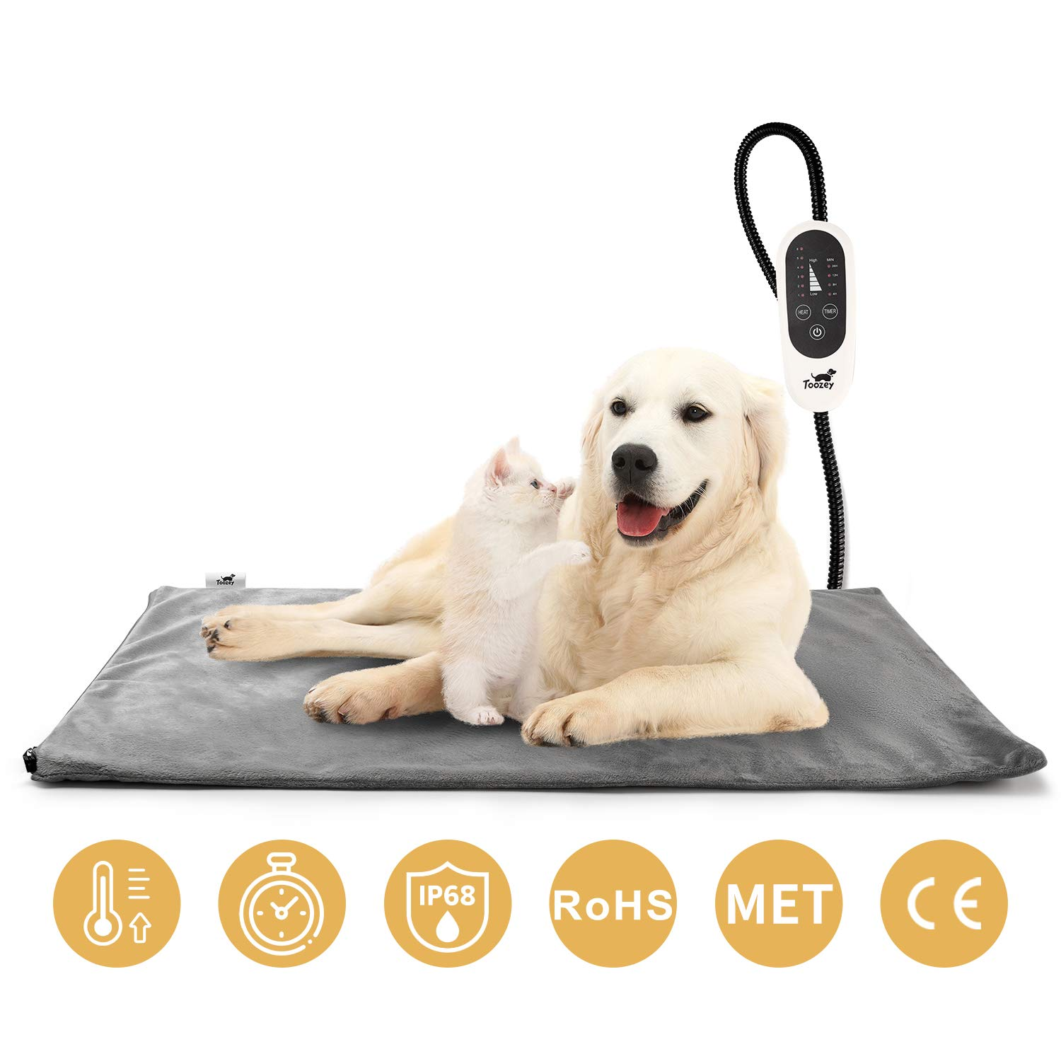 Toozey Pet Heating Pad, Temperature Adjustable Dog Cat Heating Pad with Timer, Waterproof Pet Heating Pads for Cats Dogs with Chew Resistant Cord, Electric Pads for Dogs Cats, Pet Heated Mat