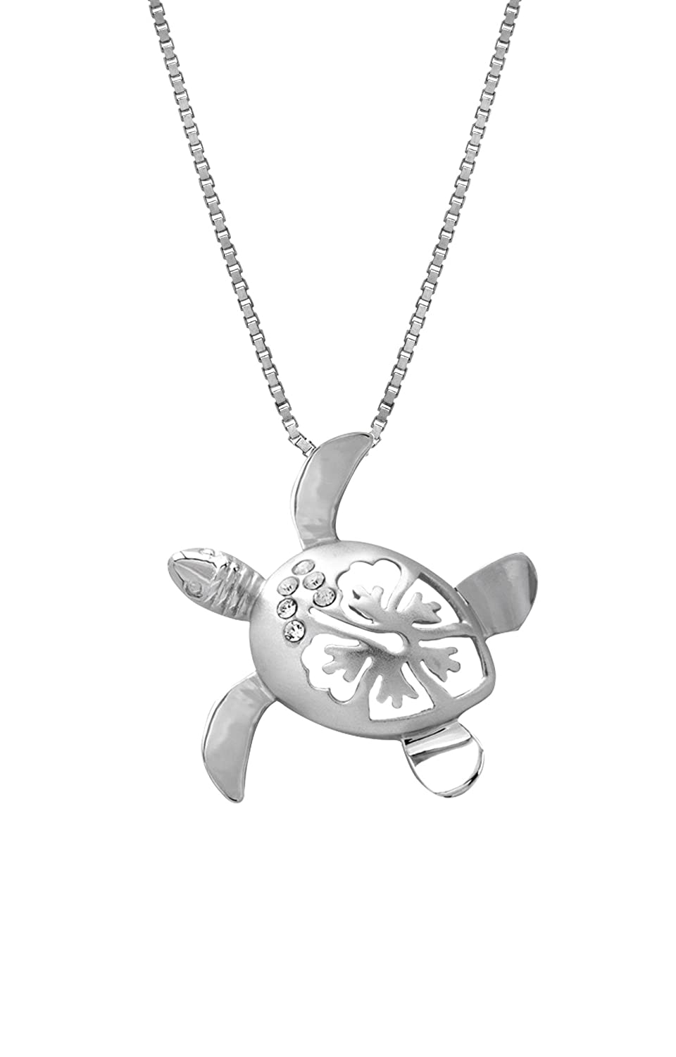 Amazon sterling silver turtle and hibiscus cz necklace pendant amazon sterling silver turtle and hibiscus cz necklace pendant with 18 box chain 25mm sea turtle gifts jewelry izmirmasajfo
