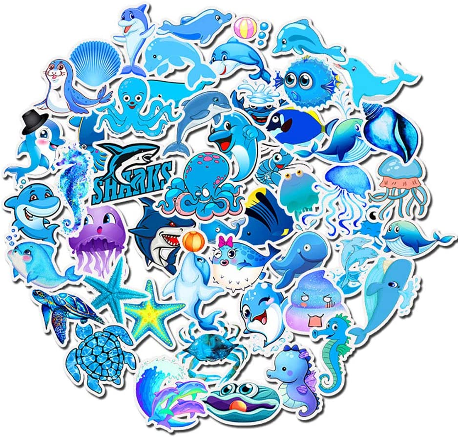 Sea Animal Stickers for Teens, Ratgoo 49 Pcs Cute Blue Fish Kids Stickers,Water Bottles Stickers Laptop Mac Computer Phone Pad Guitar Helmet Luggage Stickers to Baby Toddler Infant Children Boys Girl