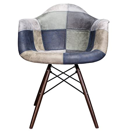 CozyBlock Mooku Blue Gray Patchwork Leatherette Fabric Upholstered DAW Dining Accent Arm Chair with Dark Walnut Leg