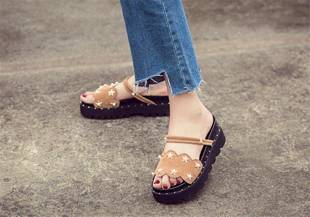 TMKOO Thick-Soled Sandalen Weiblichen Wilde Sommer 2018 Neue Wilde Weiblichen Sandalen Leder Hausschuhe Sandalen Mode Frauen Schuhe (Farbe : Braun, Größe : 37) Braun 288a34