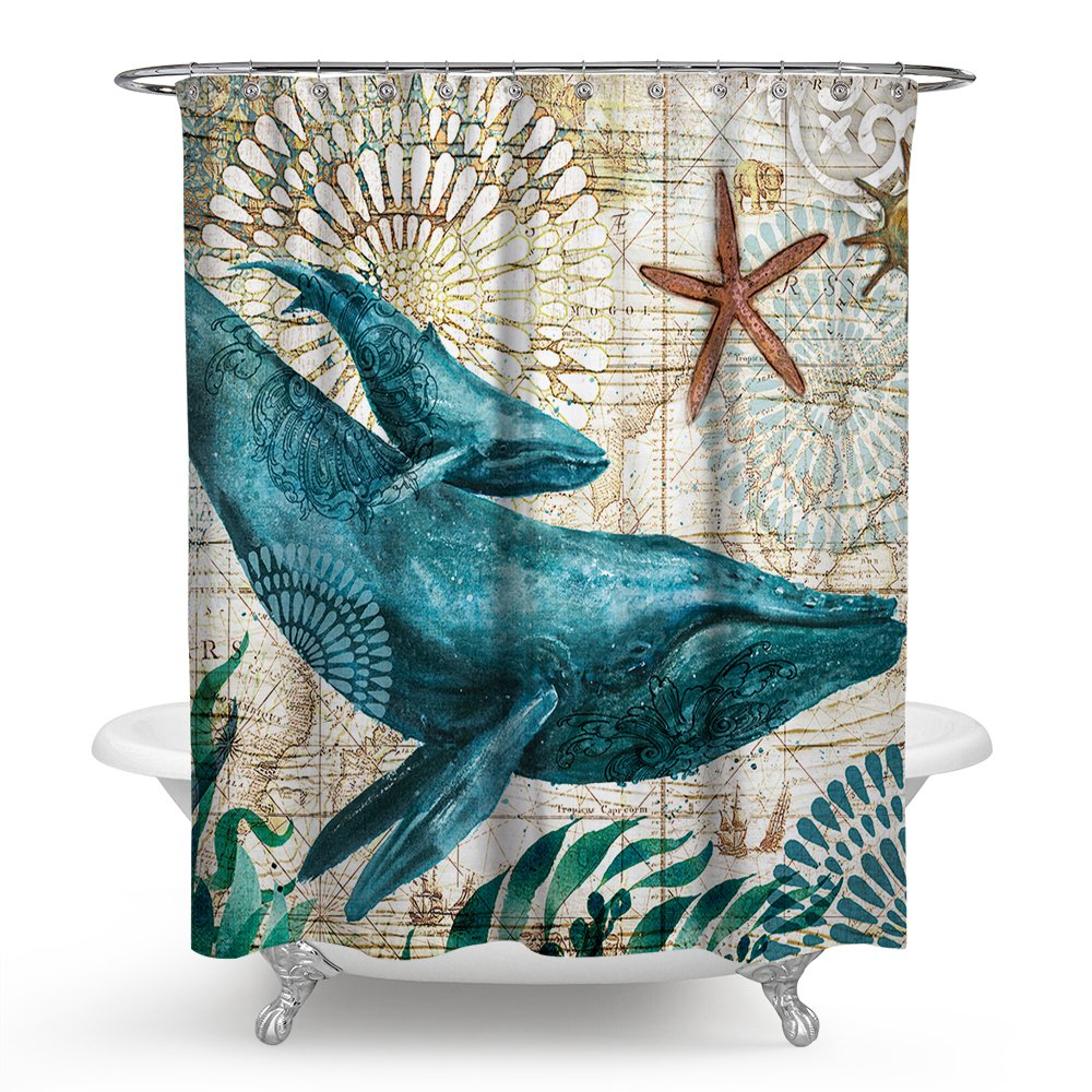 Econie Sea Horse Ocean Animal Shower Curtains Waterproof Polyester Blackout Draperies Window Solid Grommet with 12 Hooks for Bedroom Living Bathroom,71 x 71(10) Ecomic