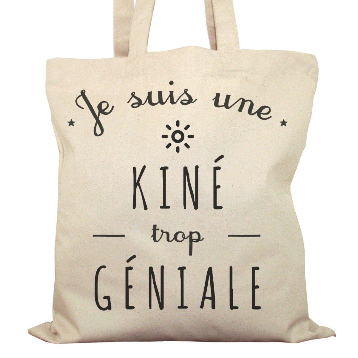 Tote Bag Imprimé Ecru - Toile en coton bio - Je suis une Kiné trop géniale AEFToteClaAlexKine
