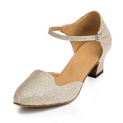 Miyoopark Womens Chunky Low Heel Champagne Glitter Latin Salsa Dance Shoes  Wedding Evening Pumps UK 2