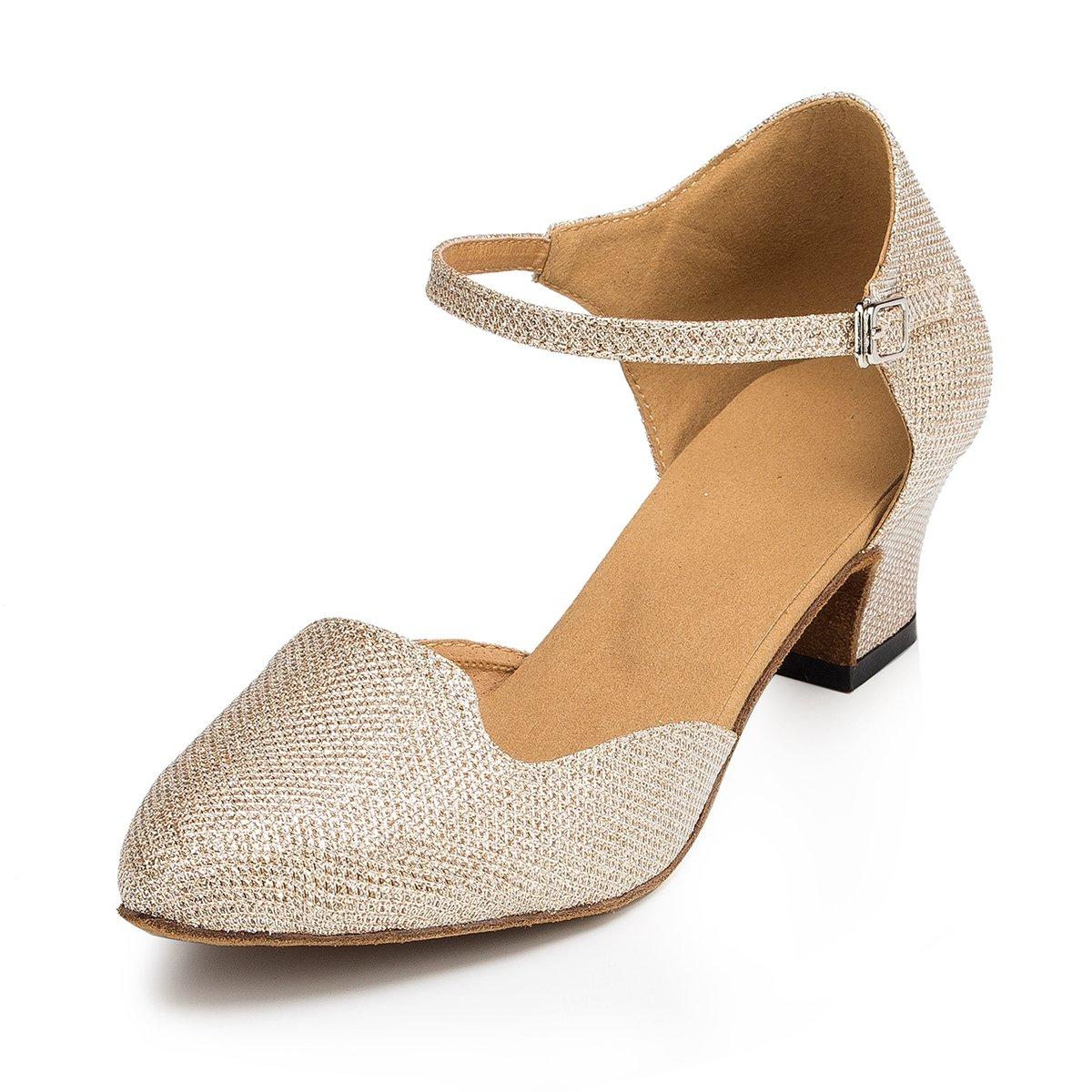Miyoopark Womens Chunky Low Heel Champagne Glitter Latin Salsa Dance Shoes Wedding Evening Pumps US 8