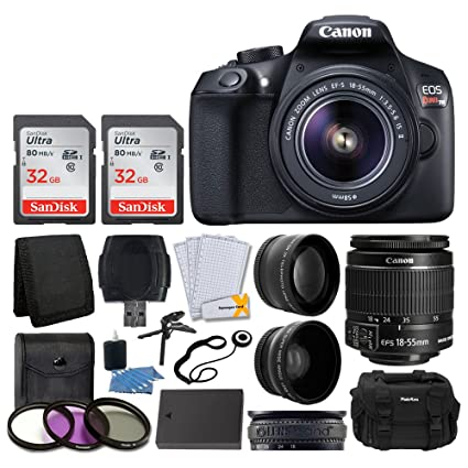 Canon EOS Rebel T6 Digital SLR Camera + Canon EF-S 18-55mm f/3.5-5.6 IS II Lens + SanDisk 64GB Card + 2x Lens 58mm & Wide Angle Lens + Extra Battery + ...
