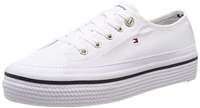c07a56389375 Image Unavailable. Image not available for. Color  Tommy Hilfiger Platform  Sneaker Womens Platform Trainers in White - 40 EU