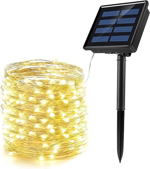 Cadena Luces Solares 200 LED 8 Modos, Ankway 22M 3 Hilos de ...