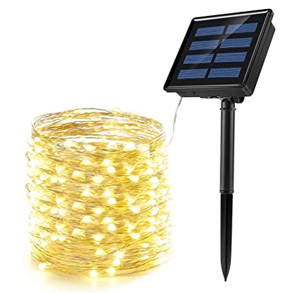 solar string lights, ankway 200 led fairy lights 8 modes 3-strands copper  wire