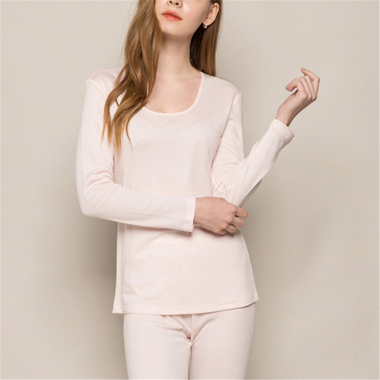 Dapengzhu Women long 30%Natural silk 70%Wool Intimates suit Long sleeve sleep wear NEW FALL WINTER NEW PINK RED NUDE Nude XL