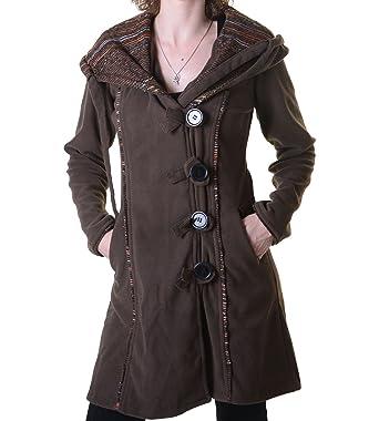 952e64d0b2e0 Kunst und Magie Fleecemantel in ausgefallenem Design mit Kapuze - Boho Damen  Mantel  Amazon.de  Bekleidung