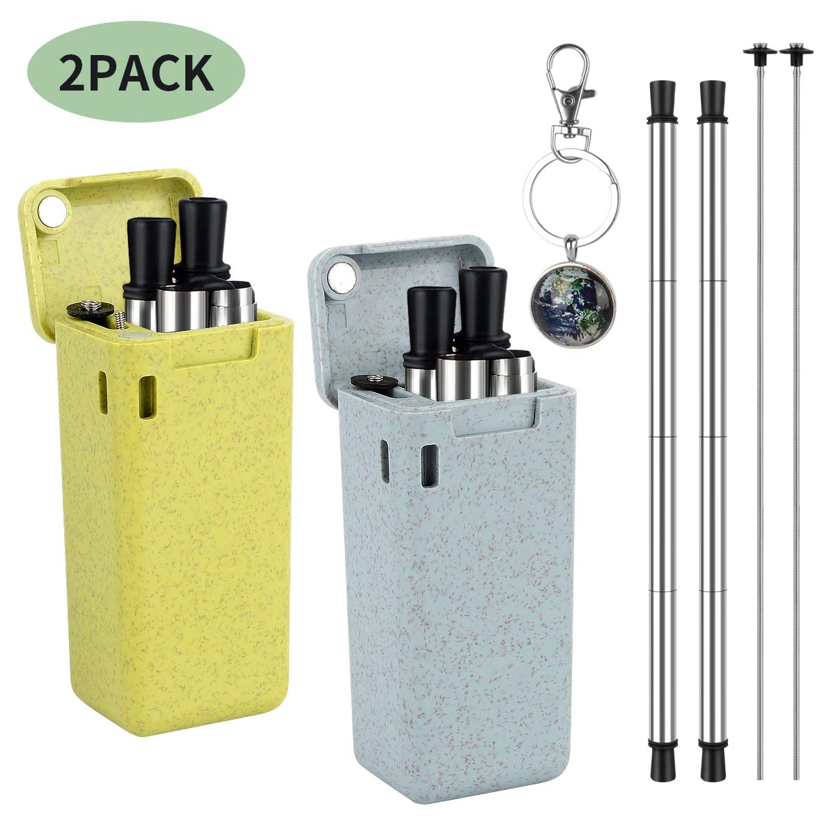 2 Pack Collapsible Reusable Straws, Daletu Stainless Steel Silicone Metal Drinking Straw, Portable Folding Straws with Hard Case and Cleaning Brush Keychain